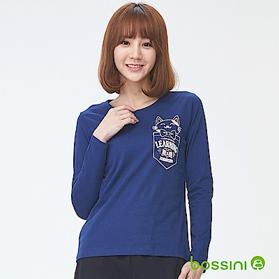 bossini女裝-印花長袖T恤10海藍