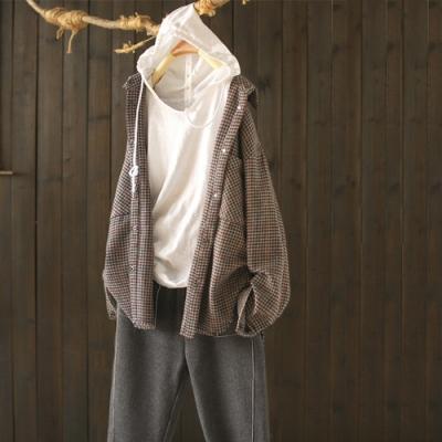 流蘇毛邊千鳥格襯衫設計感小眾寬鬆襯衣外套-設計所在