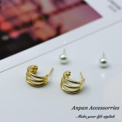 【ANPAN愛扮】韓東大門金屬三環珍珠套組925銀針耳釘式耳