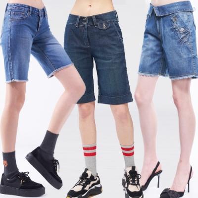 [時時樂限定]ETBOITE 箱子 BLUE WAY 丹寧女款5分短褲_3款選