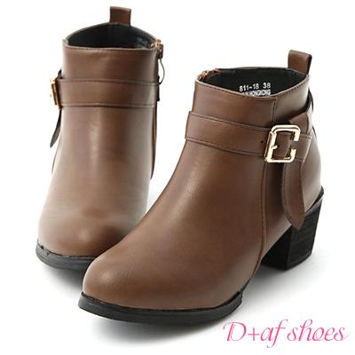 D+AF 帥氣作風.金屬釦折帶中跟短靴*棕