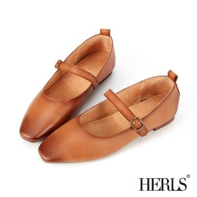 HERLS平底鞋-全真皮擦色瑪莉珍橢圓頭平底鞋-棕色