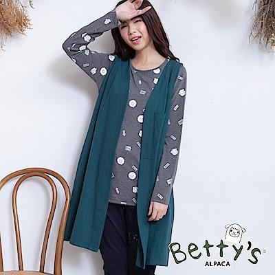betty's貝蒂思 無袖開襟後印花長版背心(深綠)