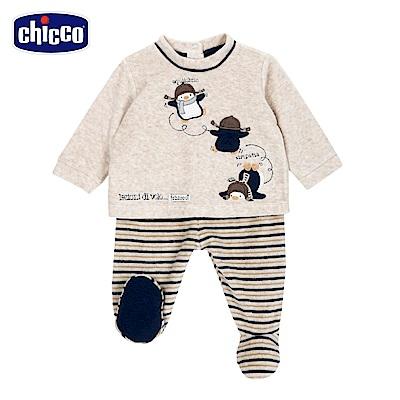 chicco-飛行企鵝系列-條紋連腳套裝-卡其(3-12個月)