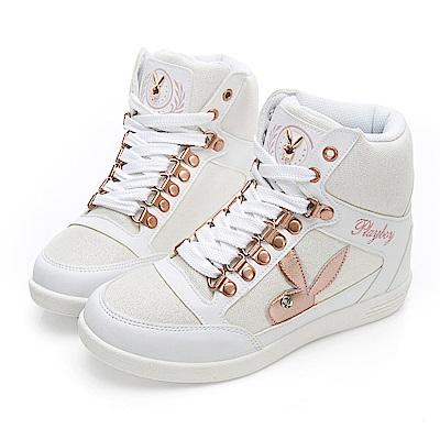 PLAYBOY 璀璨亮蔥內增高休閒鞋-白-Y522311