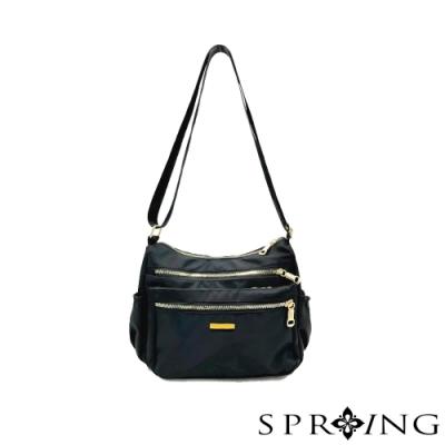 SPRING-簡約低調尼龍側背包-騎士黑