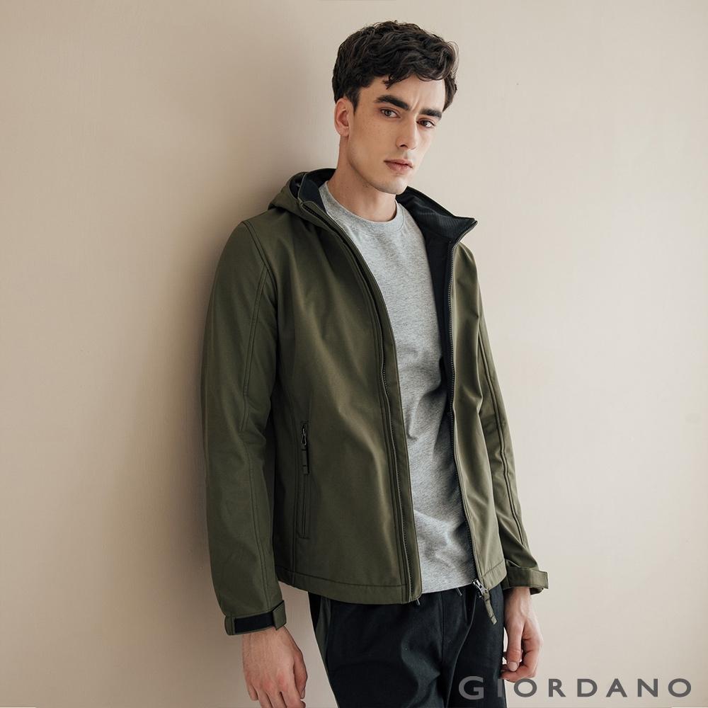 GIORDANO 男裝Softshell三合一高機能高領可拆式連帽外套-50葡萄葉綠
