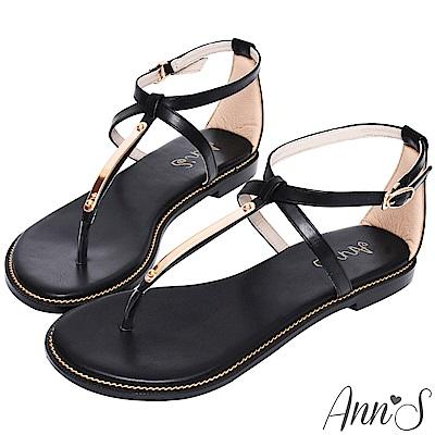 Ann'S夏日的輕鬆感-T字交叉軟金屬平底涼鞋-黑