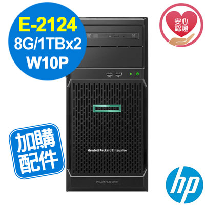 HP ML30 Gen10 E-2124/8G/1TBx2/W10P