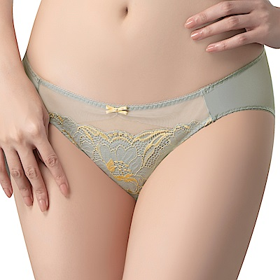 思薇爾 唯美女神系列M-XL蕾絲低腰三角內褲(天空灰)