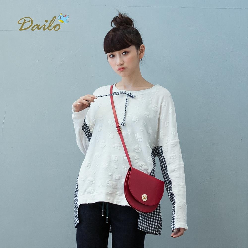【Dailo】小肉球格紋拼接長袖上衣(二色)