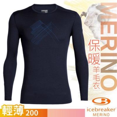 Icebreaker 男新款 200 Oasis 美麗諾羊毛輕薄款長袖圓領上衣_深藍