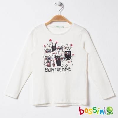 bossini女童-印花長袖T恤03灰白