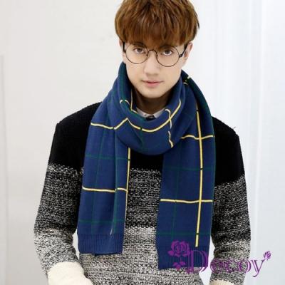 Decoy 歐風格紋 韓版男士中性保暖圍巾 藍底黃線