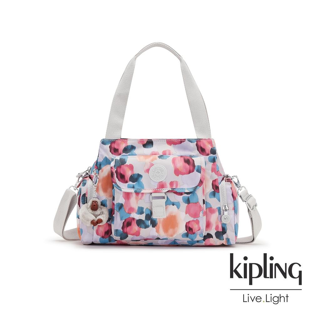 Kipling 繽紛夢幻花繪好收納手提兩用斜背包-EIRENE