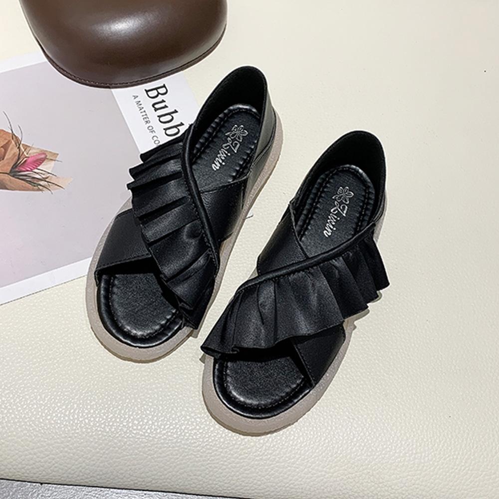 KEITH-WILL時尚鞋館 獨家價交叉花邊運動涼鞋-黑