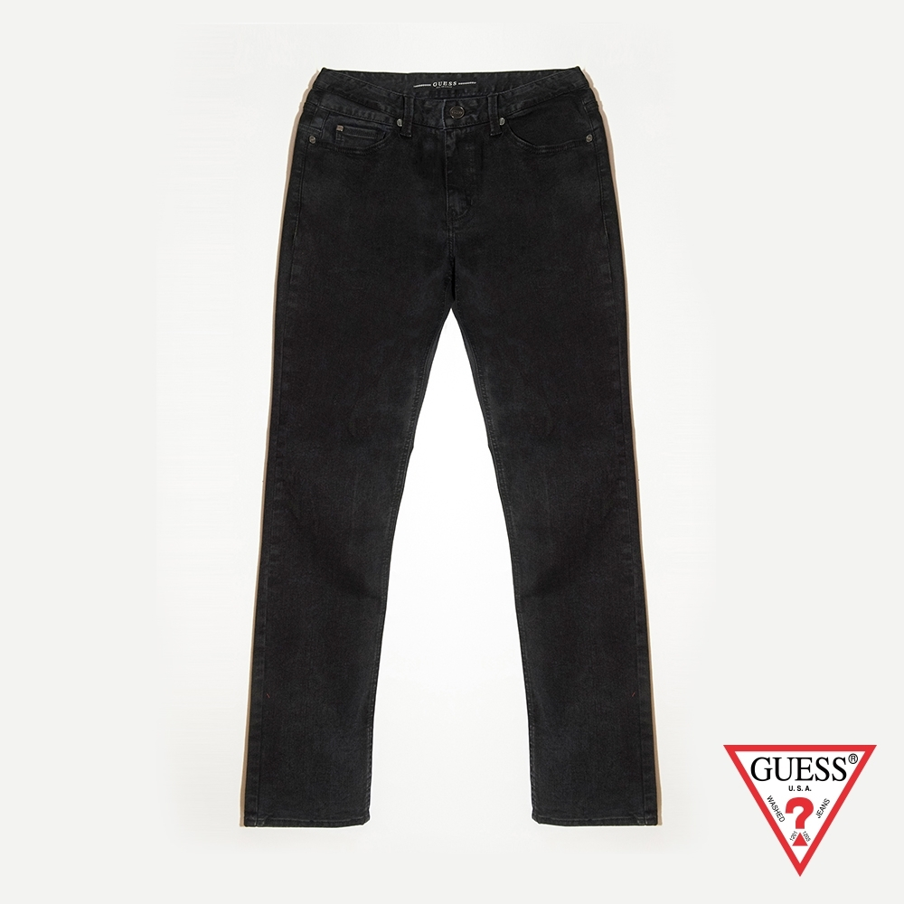 GUESS-男裝-經典素色圓釘扣牛仔褲-黑