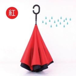 【生活良品】C型雙層雙色手動反向直立晴雨傘-素面紅色款(外層黑+內層紅)
