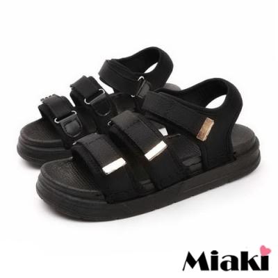 Miaki-涼鞋運動風厚底自黏涼拖-黑