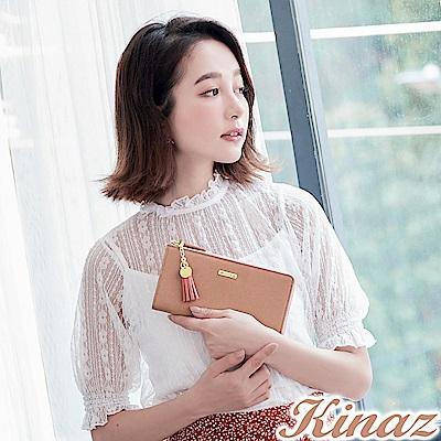 KINAZ 甜蜜驚喜L型拉鍊長夾-莓果粉-甜心磚系列