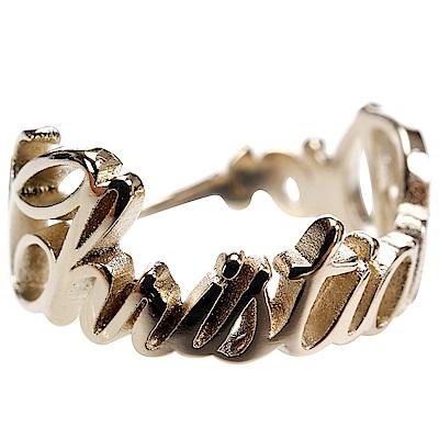 Christian Dior 品牌草寫設計金色字母戒指