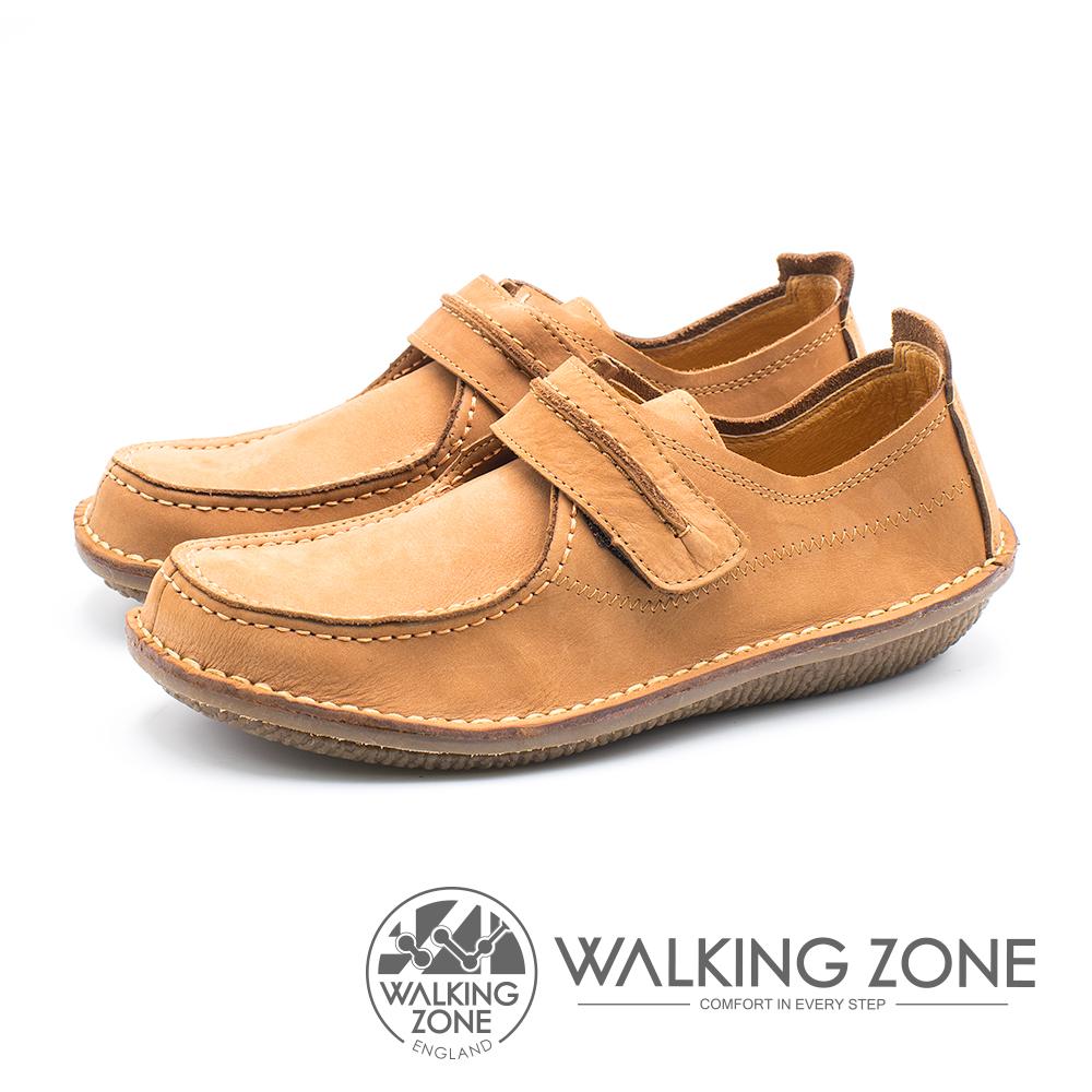 WALKING ZONE 皮革耐磨休閒鞋 男鞋 - 黃棕 (另有藍)