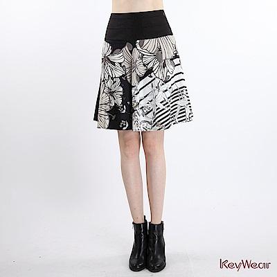 KeyWear奇威名品    德國口黑白印花典雅及膝裙-黑色
