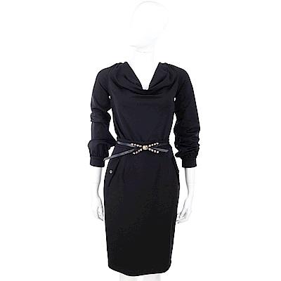 CLASS roberto cavalli 鉚釘蝴蝶結腰帶黑色垂領洋裝