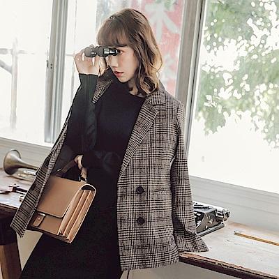 棕色調千鳥格紋混紡羊毛大衣外套-OB大尺碼
