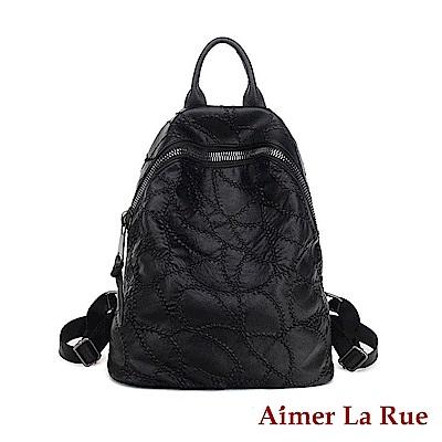Aimer La Rue後背包真皮大拉鏈繡線系列