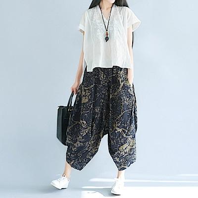 La Belleza尼泊爾民族風藍底印花棉麻休閒垂墬感闊腿褲燈籠褲