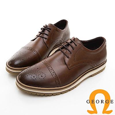 【GEORGE 喬治皮鞋】休閒系列 綁帶雕花紳士休閒皮鞋-棕色