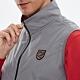 【Lynx Golf】男款三層貼合防水防風保暖盾型繡花無袖背心-灰色 product thumbnail 2