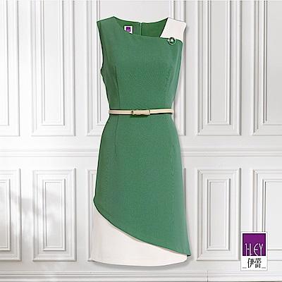 ILEY伊蕾 簡約風配色背心洋裝(綠)