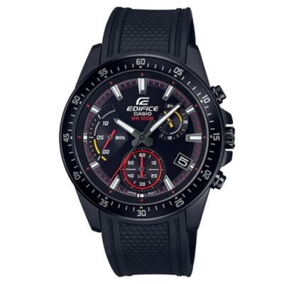 EDIFICE 混色雙搭賽車紋路設計風格腕錶-紅圈(EFV-540PB-1A)/43mm