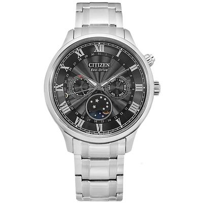 CITIZEN 光動能 月相錶 羅馬刻度 不鏽鋼手錶-黑色/42mm