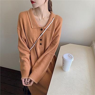 DABI 韓國風寬鬆百搭翻領針織長袖洋裝