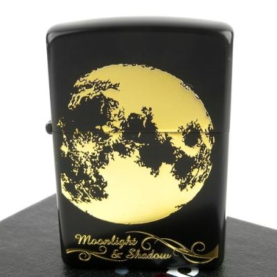 ZIPPO 日系~月之影系列-月球蝕刻金色圖案打火機