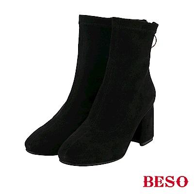 BESO 線條魅力 素面彈力粗跟襪靴-黑