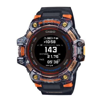 CASIO卡西歐 G-SHOCK 心率偵測 GPS定位 藍牙 太陽能電力 半透明 運動系列 GBD-H1000-1A4_55mm