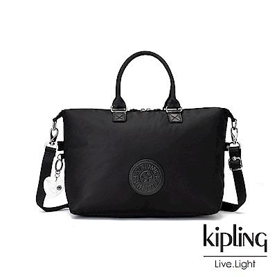 Kipling 亞洲限定款隕星黑素面時尚大容量手提肩背包-TIRAM