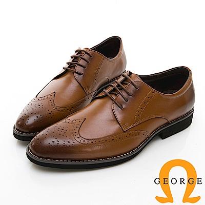 【GEORGE 喬治皮鞋】尊爵系列 漸層雕花綁紳士皮鞋-棕色