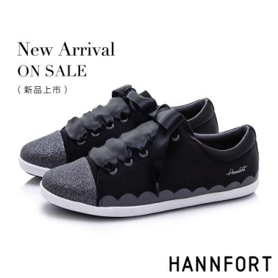 HANNFORT CALIFORNIA 閃耀柔美緞帶休閒鞋-女-黑