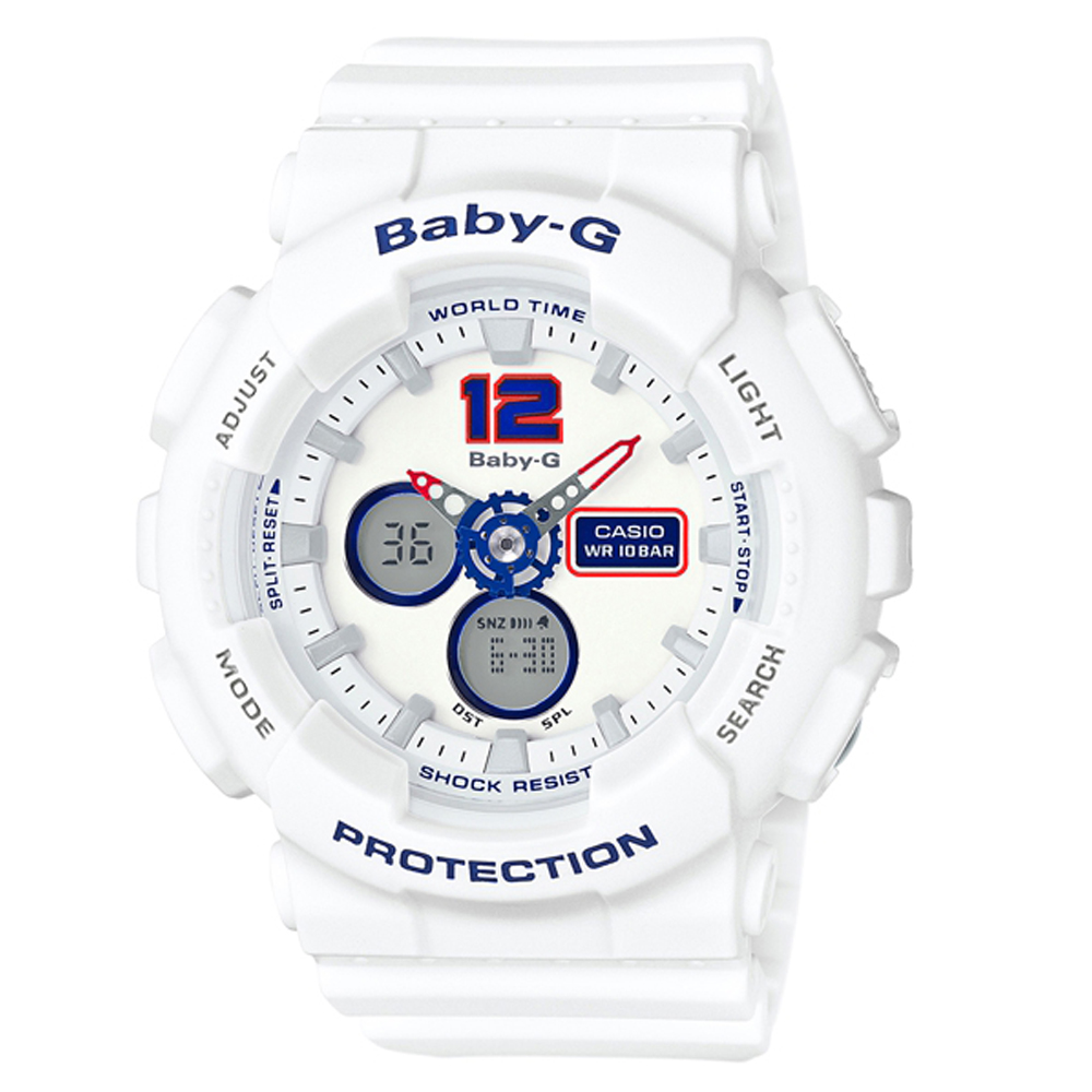 BABY-G清爽海軍風配色概念休閒運動錶(BA-120TR-7B)43.3mm