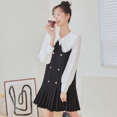 連身裙 優雅排扣百摺長袖洋裝MX10231-創翊韓都