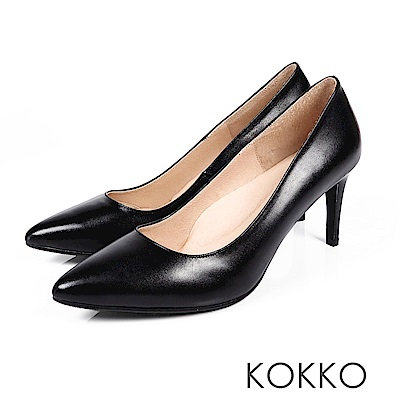 KOKKO - 皇后高貴品格真皮尖頭高跟鞋-質霧黑