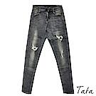 刷色破壞窄管牛仔褲 TATA