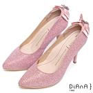 DIANA 注目吸睛-璀璨星紗後跟垂吊飾水鑽蝴蝶結跟鞋-粉