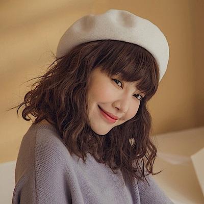 純色質感針織毛線貝蕾帽-OB大尺碼