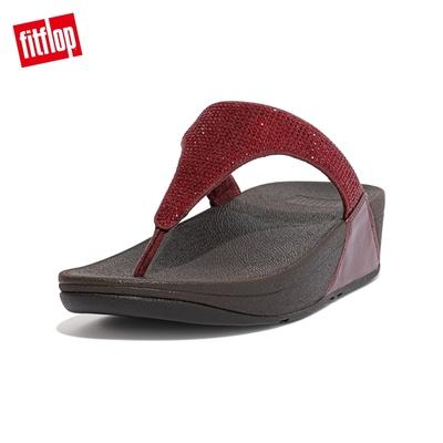 【FitFlop】LULU CRYSTAL EMBELLISHED TOE-POST SANDALS 經典水鑽夾腳涼鞋-女(暗紅色)